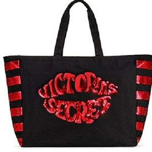 VICTORIA'S SECRET Black Red Lip Sequins Tote